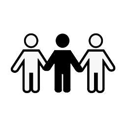 black & white icon of 3 people holding hands