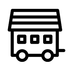 black & white icon of a tiny house on wheels