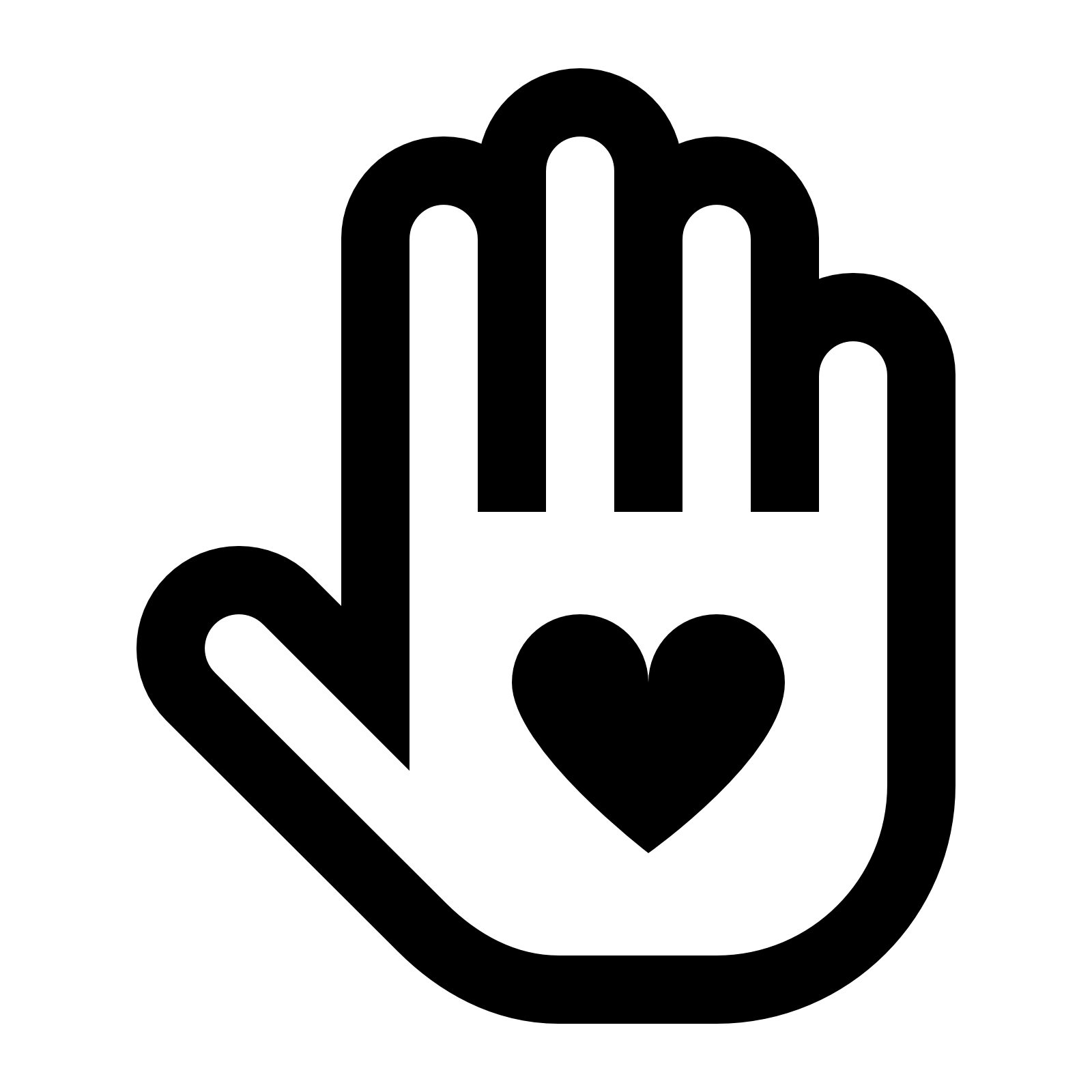 icon of a hand with a heart shape in the middle of it