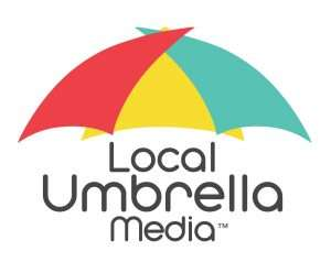 "logo with a colorful umbrella over the words ""local umbrella media"""
