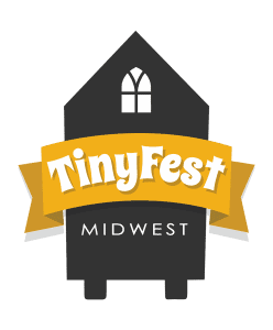 tiny house on wheels icon with a star near the top. it reads TinyFest Midwest