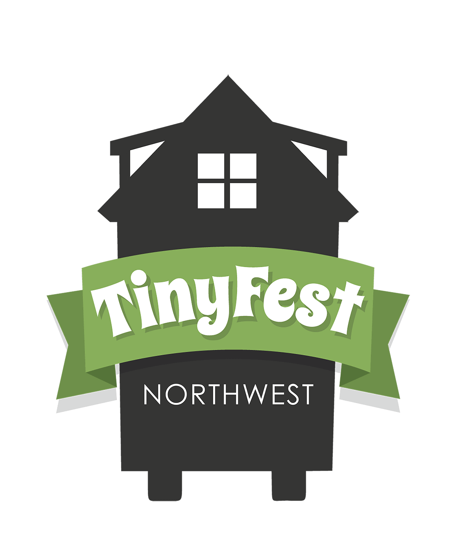 tiny house on wheels icon with a star near the top. it reads TinyFest Northwest