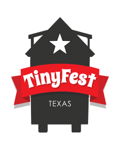 tiny house on wheels icon with a star near the top. it reads TinyFest Texas