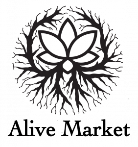 logo reads Alive Market. It has a flower with roots under it and reaching around it