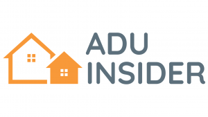 Logo reads ADU INSIDER and has graphic of two houses beside it. One is smaller than the other