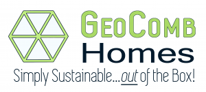 logo reads GeoComb Homes Simply Sustainable... out of the Box!