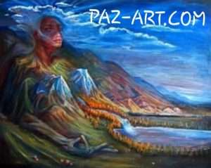 artwork of a person morphed into a mountian by the lake word paz-art.com