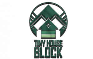 logo reads Tiny House Block with a green shapes above it that appear to be like a home infront of mountains