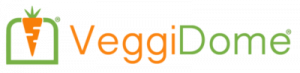 logo reads VeggiDome. There is a carrot to the left of the words