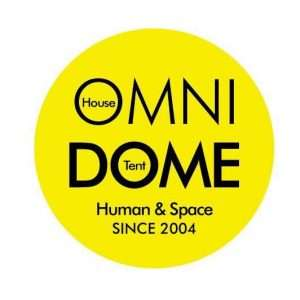 "logo is yellow circle with words ""Omni Dome Human & Space Since 2004"""