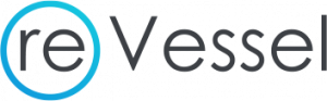 logo reads reVessel simple lettering with a blue circle around the letters re