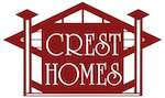 logo reads Crest Homes and has rectangles and squares that are maroon and white