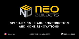 logo reads NEO Builders Specialzing in ADU Construction and Home Renovations