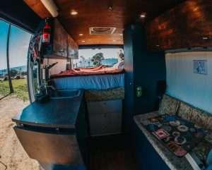 photo of the inside of a custom built camper van