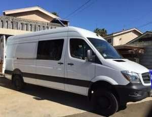 exterior photo of a white camper van