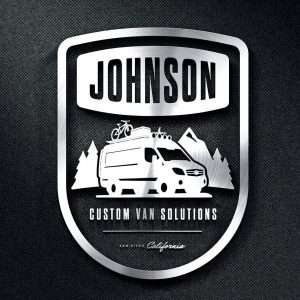 logo is black background with words Johnson Custom Van Solutions and a graphic of a Sprinter style camper van in the woods