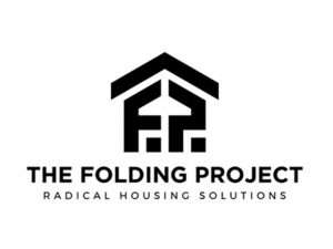 "logo with the graphic of a house and the words ""The Folding Project Radical Housing Solutions"""