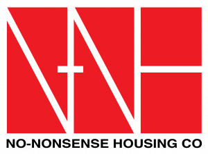 Logo with red box and the letters NNH in them underneath says No-Nonsense Housing Co.