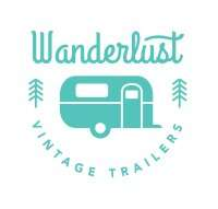 logo reads Wanderlust Vintage Trailers with a graphic of a vintage camper in the center