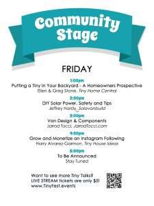 schedule of presentations on Friday at community stage