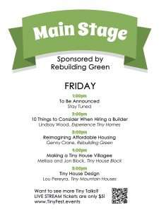 schedule of speakers on Main Stage Friday