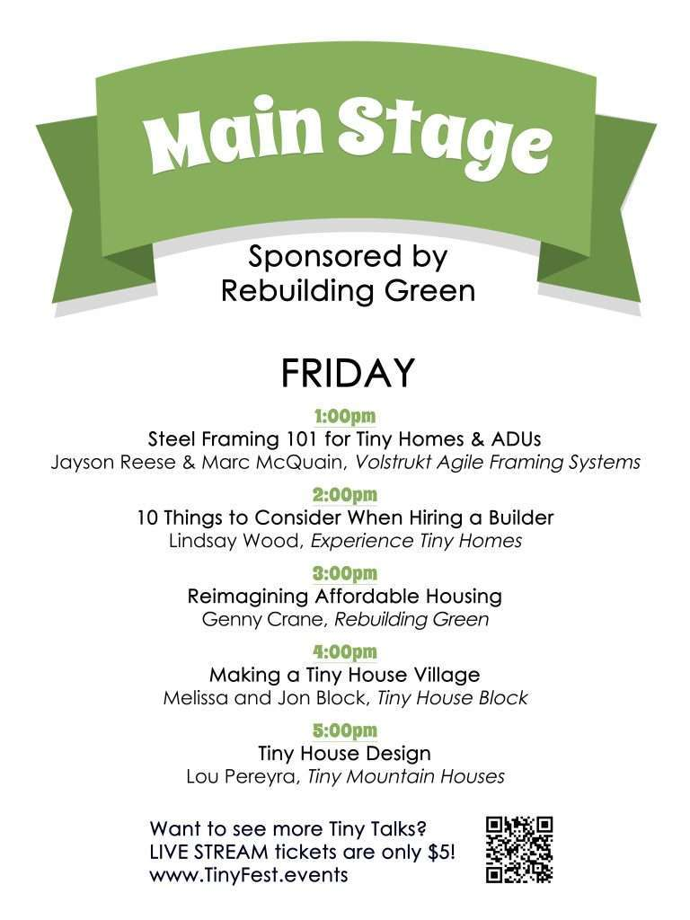 schedule of speakers for Friday Main Stage