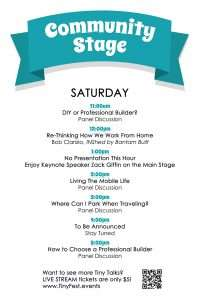 schedule of speakers on Community Stage on Saturday