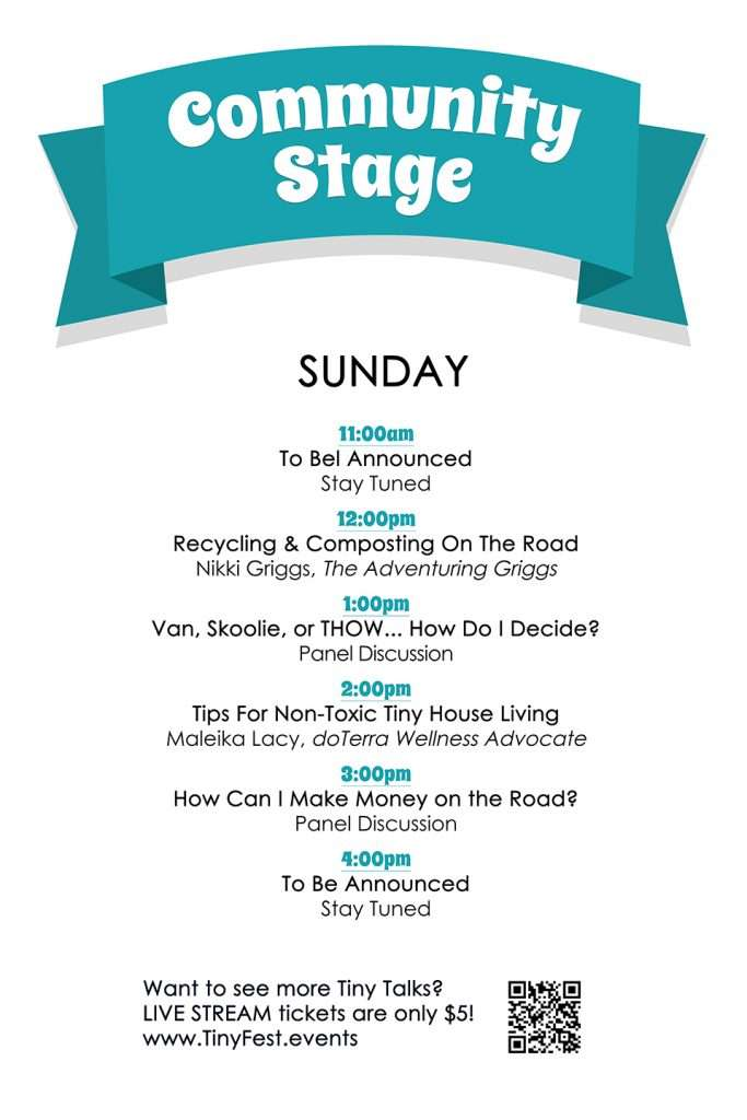 schedule of speakers on Community stage on Sunday