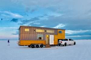 tiny house on wheels on the salts flats in Utah