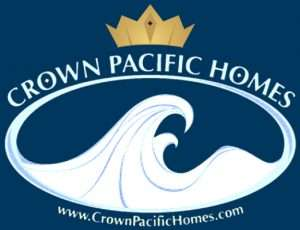 logo reads Crown Pacific Homes. There is a wave under the words and a crown above the word Pacific
