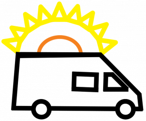 simple drawing of a cargo van with the sun behind it