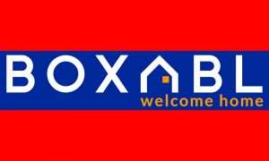 logo reads BOXABL welcome home. The A is shaped like a house