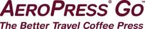 "logo reads ""AeroPress Go The Better Travel Coffee Press"""