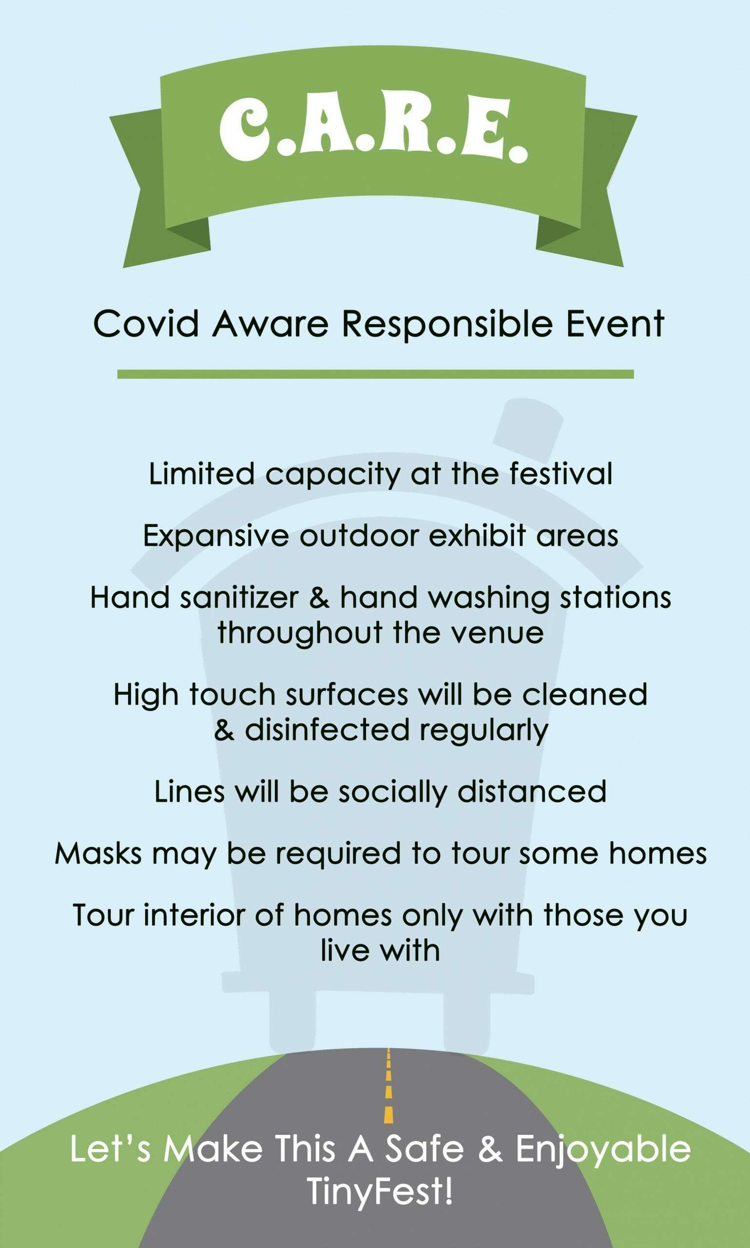 graphic has the guidelines written out that will be in place to help keep attendees safe from COVID