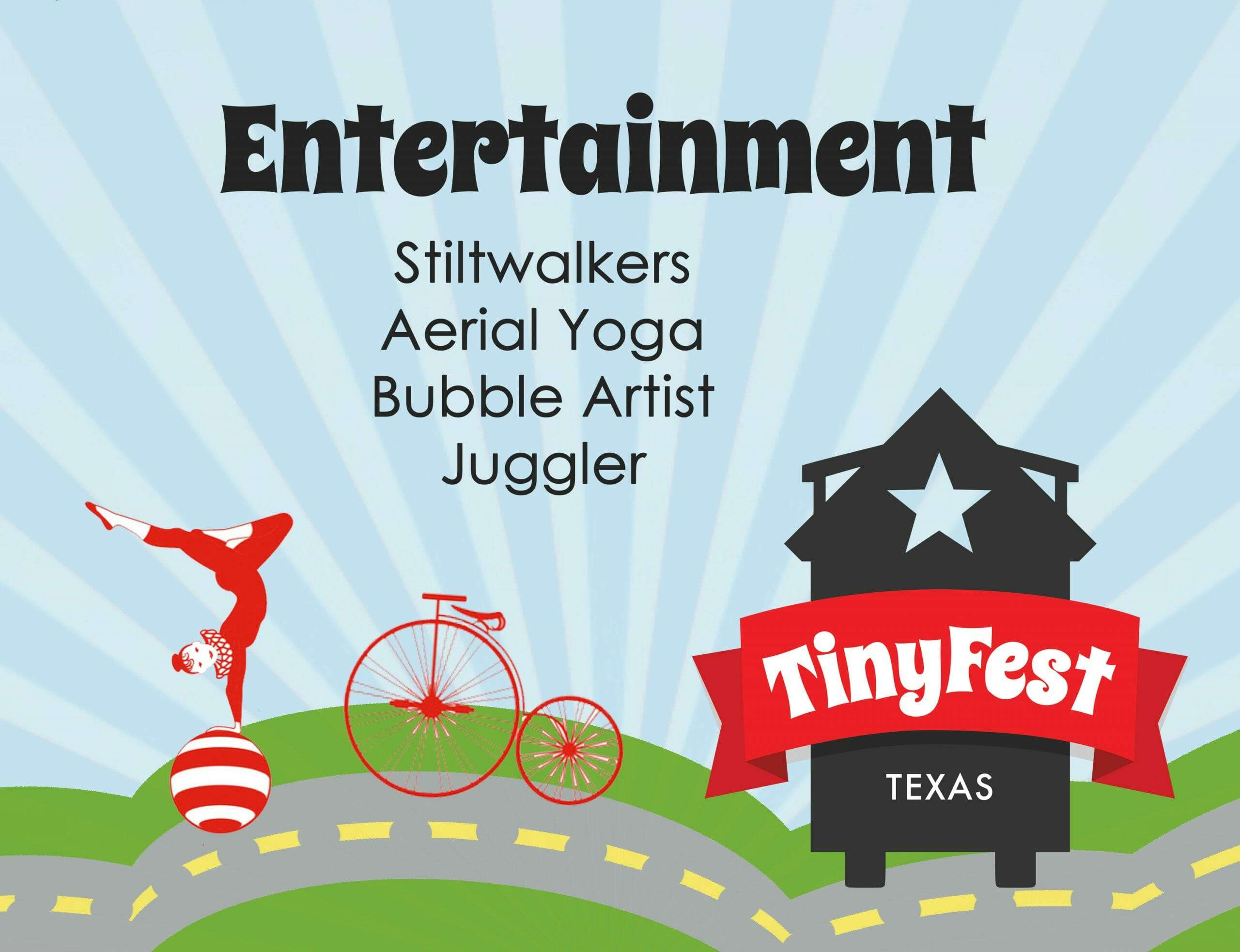 graphic showing the types of entertainment at TinyFest Texas