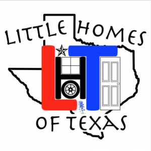logo for Little Homes of Texas. Has the outlineof the state of Texas and business name