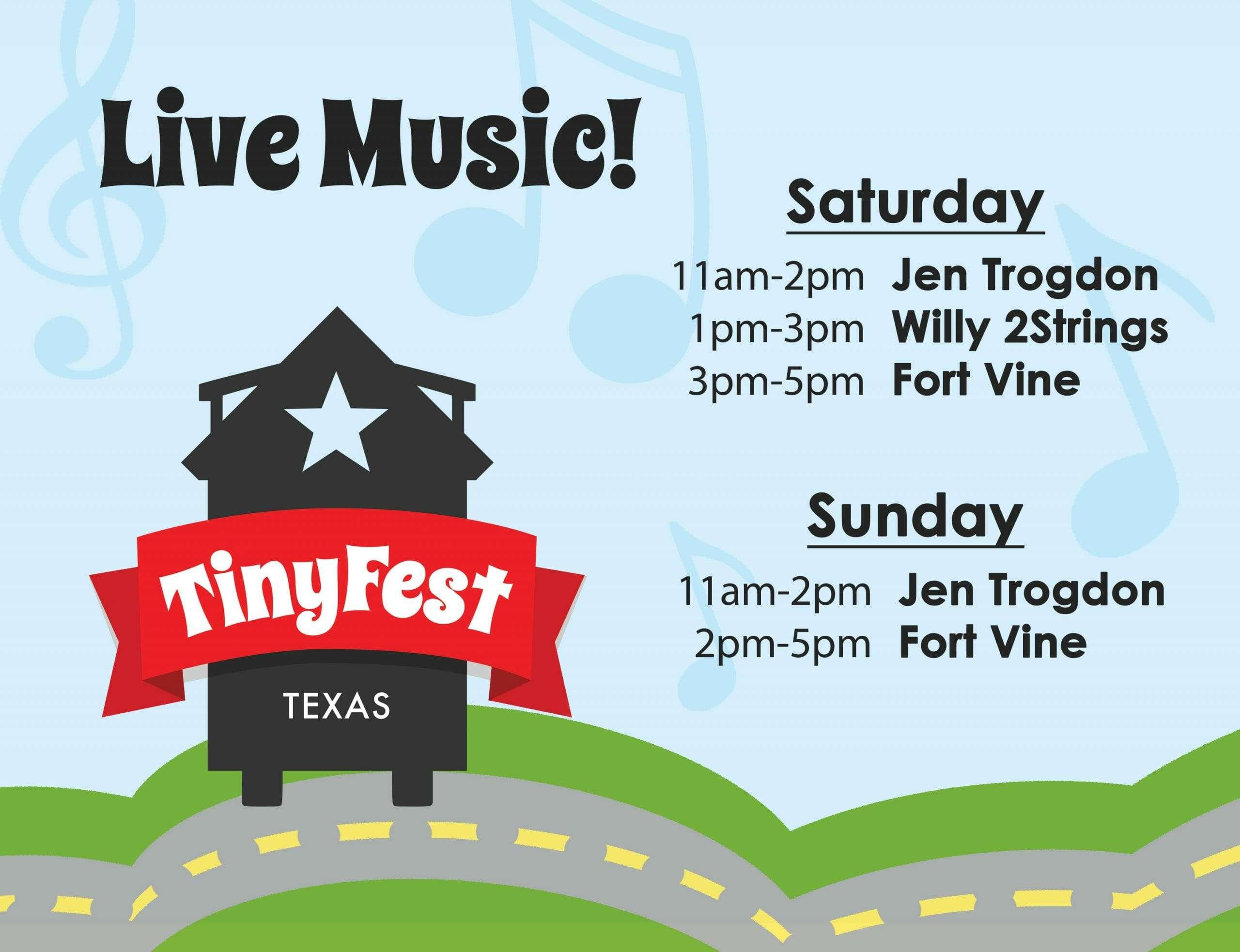 Live Music schedule in a cute graphic