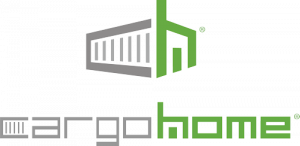 logo reads cargo home and has the shape of a shipping container home