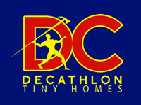 logo has a big DC in red letters and reads Decathlon Tiny Homes under it